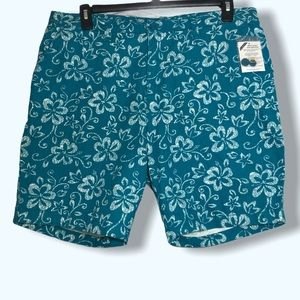 NWT Only Necessities Teal Floral Shorts Sz 16W